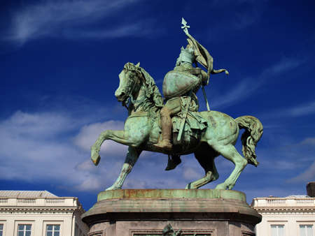 historical landmark: Statue of the hero Godfrey of Bouillon on the Brussels Royal Square. Godfrey of Bouillon was a medieval knight that led the first Crusade against the Islam and became king of Jerusalem.