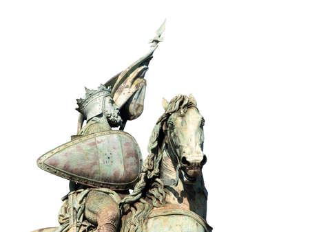 citytrip: Detail of the statue of the hero Godfrey of Bouillon on the Brussels Royal Square. Godfrey of Bouillon was a medieval knight that led the first Crusade against the Islam and became king of Jerusalem. Isolated over white. Stock Photo