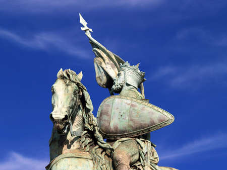 citytrip: Detail of the statue of the hero Godfrey of Bouillon on the Brussels Royal Square. Godfrey of Bouillon was a medieval knight that led the first Crusade against the Islam and became king of Jerusalem. Stock Photo