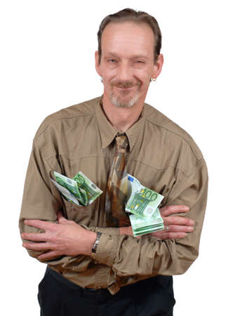 Slick and alternative sardonically grinning senior business man loaded with Euro banknotes. Isolated over white.