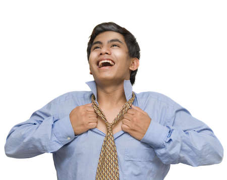 Young Indian or Asian corporate businessman cheering, smiling and opening his collar and necktie, breathing free and liberated. Isolated over white. Stock Photo - 5064361