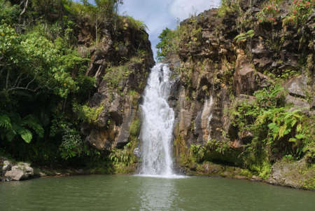 volcanic rock: Secluded jungle waterfall and pond in a volcanic sediment canyon, slopes covered with pristine rain forest on the tropical Bukidnon plateau, Mindanao, Philippines.