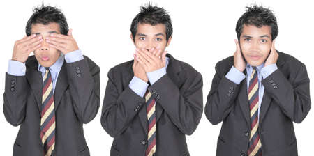 Row of 3 images of a young Asian businessman in suit depicting the saying see, speak, hear no evil. Isolated over white.