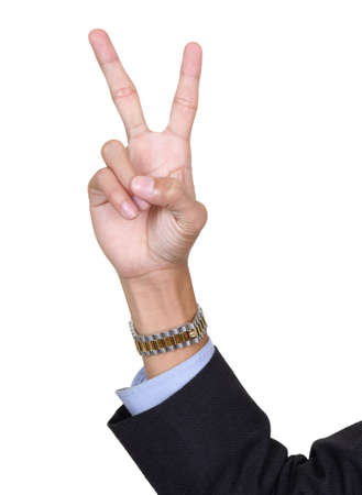 Two fingers pointing up, counting number two, V-sign or peace sign, with arm in business suit. Isolated over white with copy space.