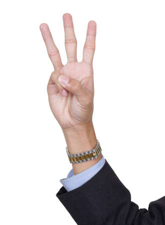 Three fingers pointing up, counting number 3, palm forward, thumb folded, with arm in business suit. Isolated over white with copy space.