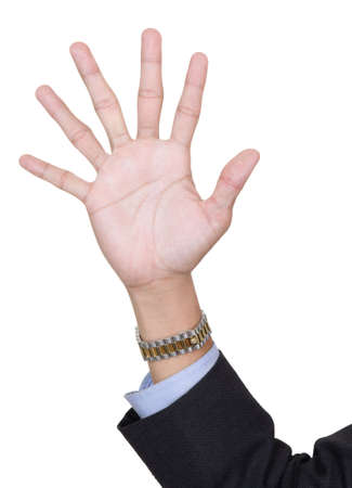 Six fingers pointing up, counting number 6, by adding extra finger in a surreal surprising way, with arm in business suit. Isolated over white with copy space. Zdjęcie Seryjne