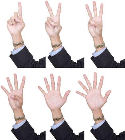 6 同一のコレクション手のビジネス スーツ、パーム、1 ~ 6 の指を数えます。白で隔離された、個別に抽出できます。 写真素材