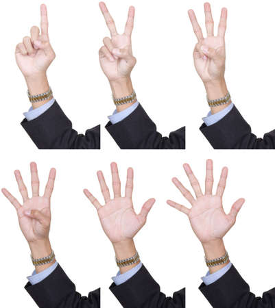 one finger: Collection of 6 identical hands in business suit, palm forward, counting fingers one to six. Isolated over white, can be extracted individually. Stock Photo