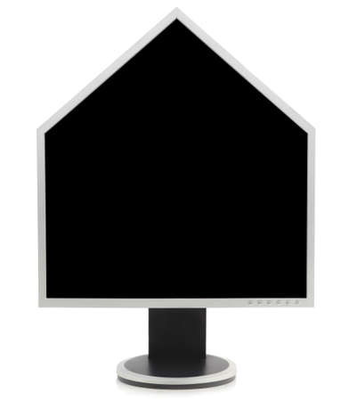 Computer PC LCD screen monitor in the shape of a house with roof, as for internet real estate information. Isolated over white with screen area pure black for easy copy space. photo