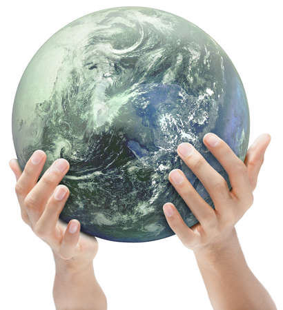 A blue and green globe or mother earth carried and offered by hands. Green concept of ecology and CO2. Isolated over white. Globe courtesy NASA/JPL. Zdjęcie Seryjne