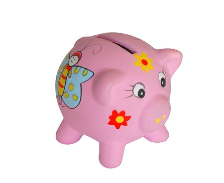 Pink a pig a coin box from clay photo