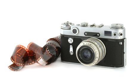 the old analog camera with a film photo