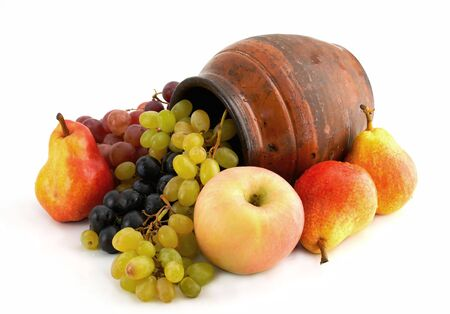 fruits and old clay pottery