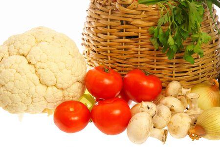 Vegetables, mushrooms and basket photo