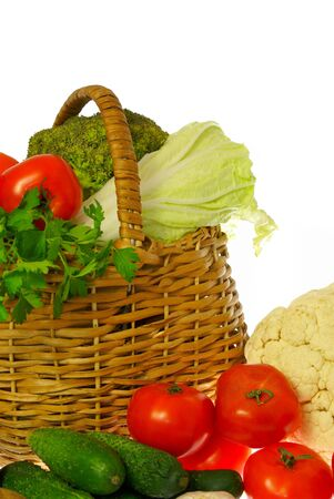 Vegetables and basket photo