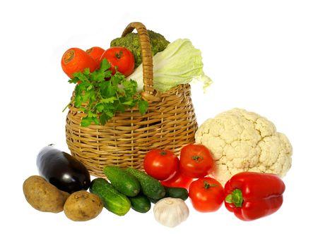 Vegetables and basket              Фото со стока