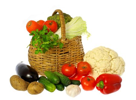 the caustic: Vegetables and basket              Stock Photo
