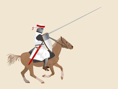 caballero medieval: El caballero medieval en un caballo  Foto de archivo