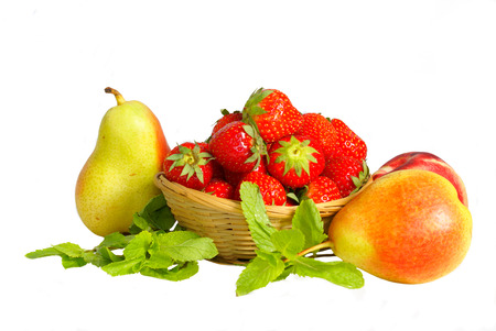 basket with strawberry and fruits                photo