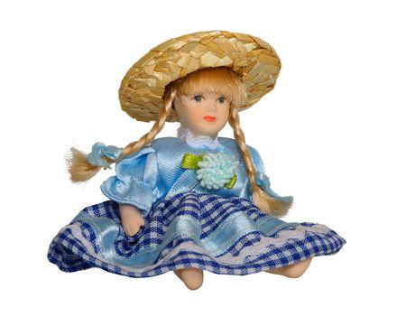 dolly: dolly in abito blu su sfondo bianco
