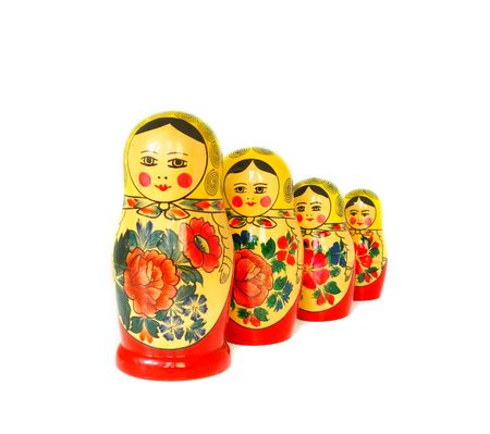 traditional russian dolls isolated on white background