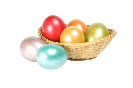 easter eggs isolated on white background photo