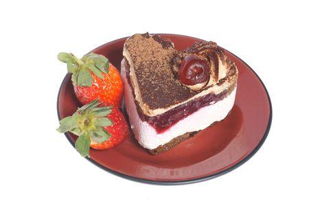 Fruit cake ��� strawberry isolated on white background photo