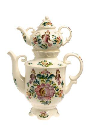 ceramic samovar isolated on white background photo