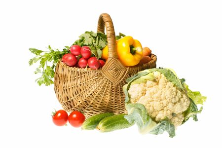 vegetables and basket isolated on white background photo