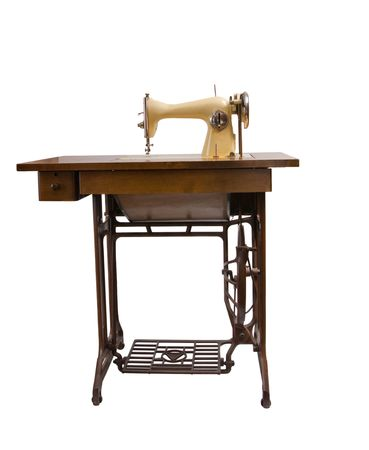 sewing machine isolated on white background photo