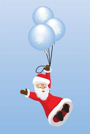 christmas balls and Santa Claus Vector