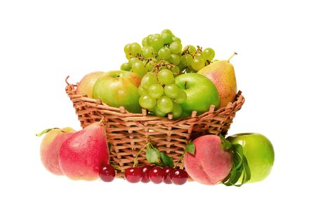 fruits in basket isolated on white background Фото со стока