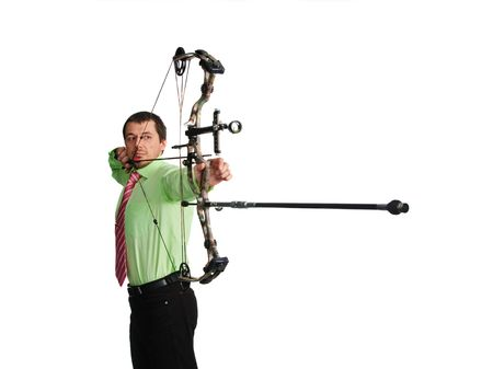 bow-hunter with a modern compound bow photo