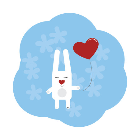 celebrate life: cute rabbit with heart on a string