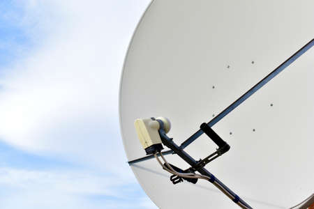 White satellite dish with receiver and transmitter 스톡 콘텐츠