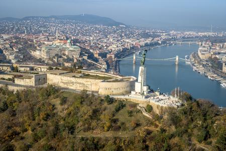 Budapest Aerial Citadell sunny blue sky clear sky