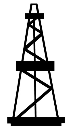 'rock drill': Oil and gas derrick abstract silhouette on white background