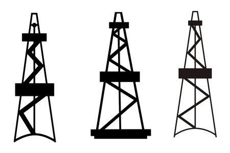 석유와 가스 데릭 흰색 배경에 추상 실루엣 스톡 콘텐츠