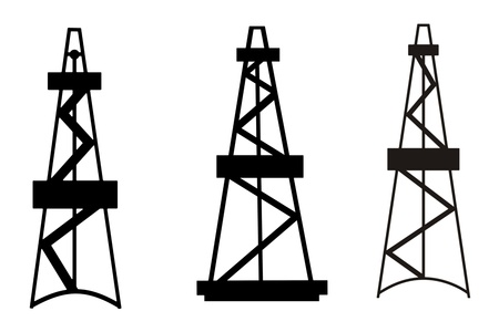 Oil and gas derricks abstract silhouettes on white background Stock Photo
