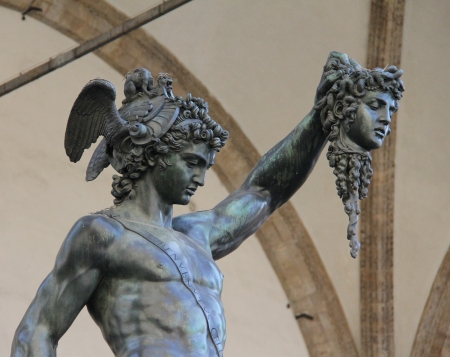 medusa: Bronze statue of Perseus holding head of Medusa in Piazza della Signoria, Florence, Italy