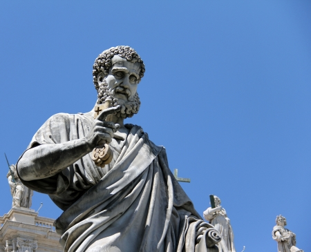Saint Peter holding the key to heaven  Saint Peter s square in the Vatican  Rome  Italy