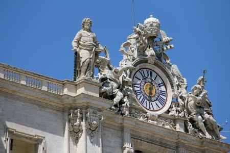 St Peters Basilica clock,  Vatican, Rome, the Pope s residence and centre of the Catholic Church Stock Photo - 15490666