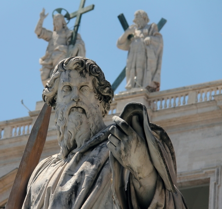 Statue of Saint Paul with his sword, looking down at us  St  Paul s Basilica, Vatican City  Stock Photo - 15490707