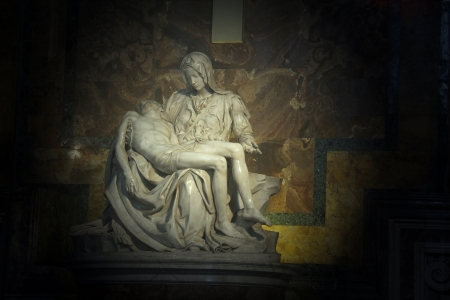 pity: La Pieta  The Pity , statue made by Michelangelo, inside Saint Peter Basilica, Vatican City, Rome, Italy