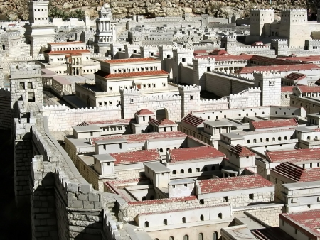 2nd century: ancient Jerusalem  Upper Town  Hasmonean Palace  Model  Stock Photo