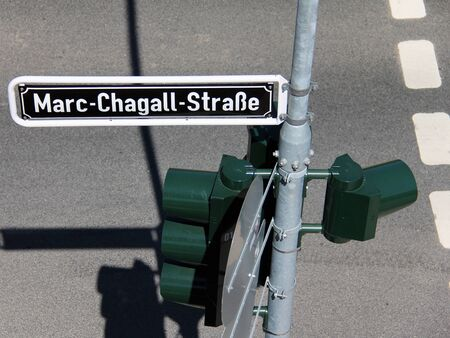 chagall: Marc Chagall street sign in Dusseldorf