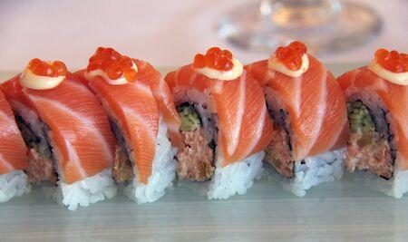 Japanese sushi rolls with salmon Stock Photo - 15656906