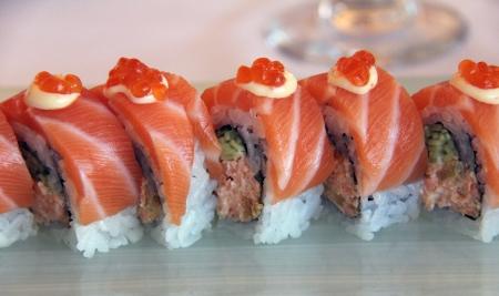 Japanese sushi rolls with salmon Stock Photo - 15656835