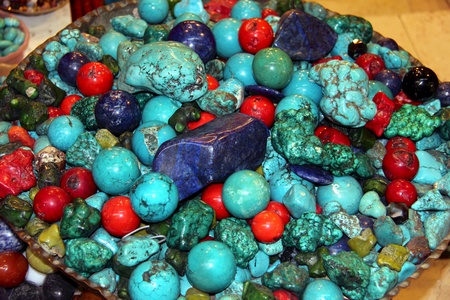 Ornamental turquoise gem and other gemstones Stock Photo - 16443023