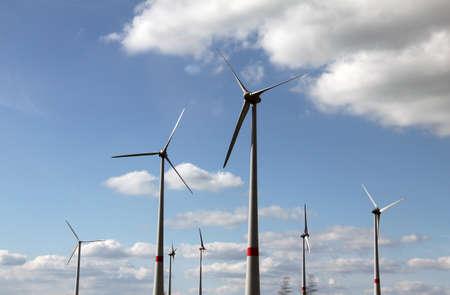 The Alternative energy  Group of energy-producing windmills Stock Photo - 16442855